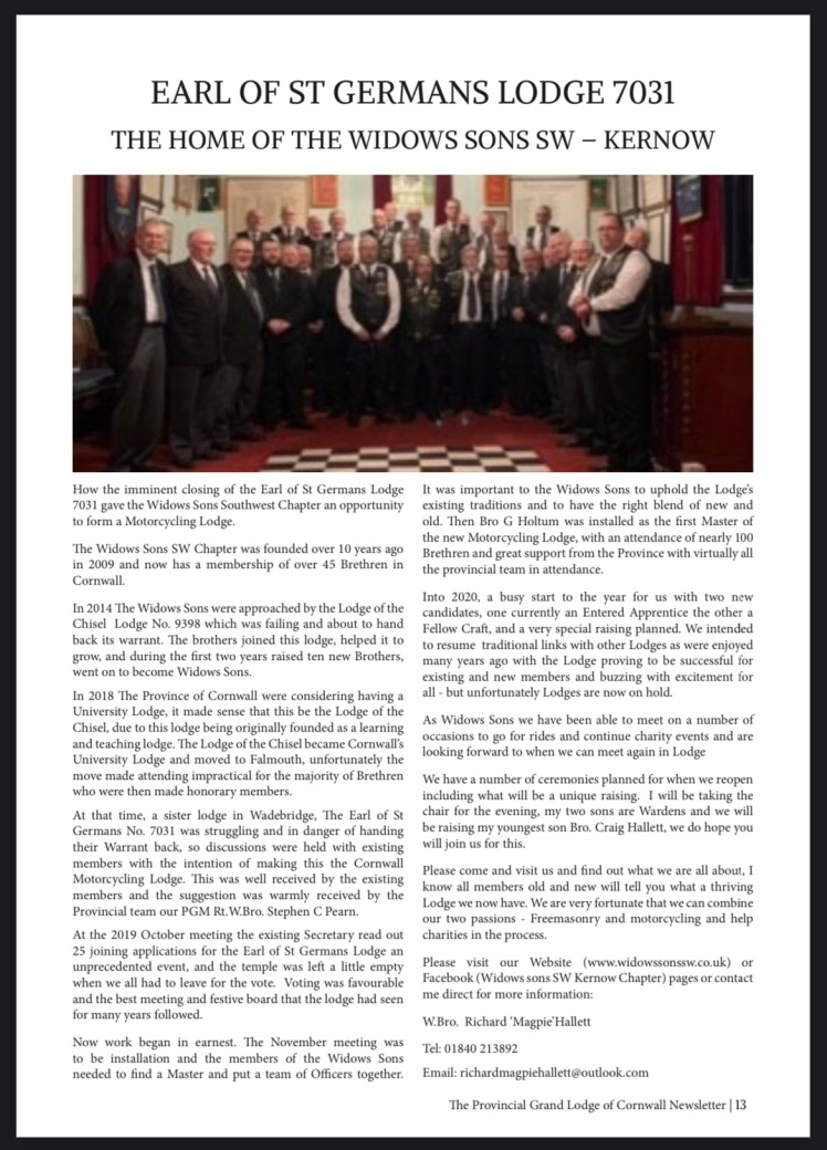 The Earl of St Germans No 7031 the home of Widows Sons in Cornwall, in the Provincial Newsletter